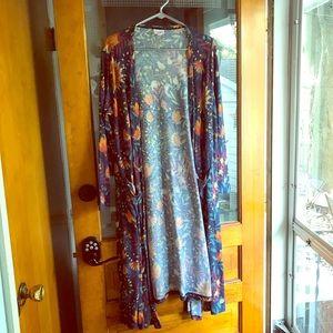 Lularoe Sarah cardigan duster blue floral orange